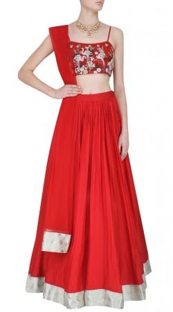 Plus Size Red Silk Designer Crop Top Lehenga SUUDL31831