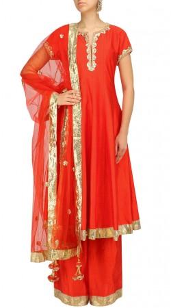 Plus Size Red Silk Indo Western Salwar Kameez SUMS36324IBO