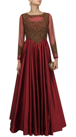 Plus Size Reddish Maroon Anarkali Suit SUMA57828