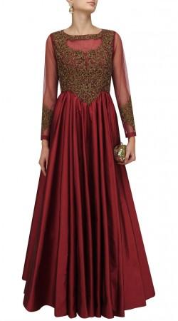 Plus Size Reddish Maroon Anarkali Suit SUMA57828