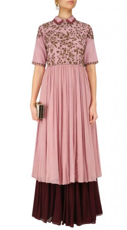 Plus Size Rosy Pink Indo Western Salwar Kameez SUUDS49029