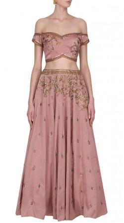 Plus Size Rosy Pink Silk Crop Top Lehenga SUUDL30631