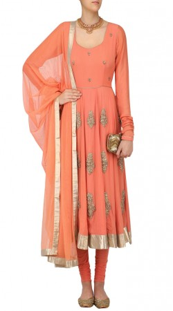 Plus Size Salmon Georgette Embroidery Work Anarkali Suit SUUDS46426
