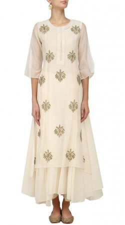 Plus Size Silk White Indowestern Salwar Kameez SUMA54728