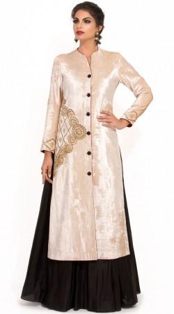 Plus Size White Velvet Designer Lehenga Kurti SUMS33824