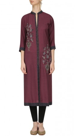 Plus Size Wine Silk Front Cut Kameez With Straight Fit Pant SUMA55128