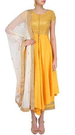 Plus Size Yellow Silk Indo Western Salwar Kameez SUUDS46526