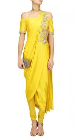 Plus Size Yellow Silk IndoWestern Designer Dress SUUDS47229