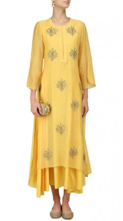 Plus Size Yellow Silk Salwar Kameez SUMA54628
