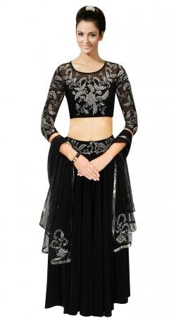 Precious Black Georgette Lehenga With Embroidered Choli SUUDL11115