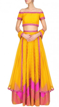 Precious Mango Yellow Zig Zag Work Lehenga With Off Shoulder Choli SUUDL16618