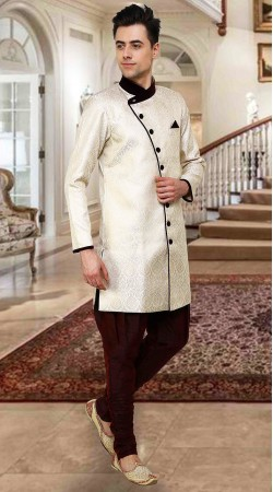 Precious Off White Banarsi Brocade Indowestern Sherwani DTINDO16050