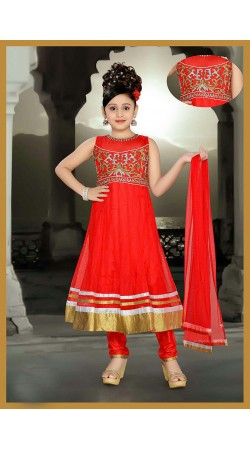 Precious Red Net Kids Girl Long Anarkali Suit With Dupatta DT53444