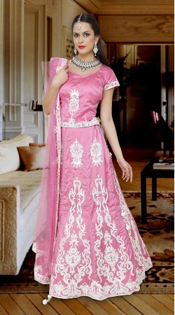 Precious Resham Work Pink Net Embroidered Lehenga Choli DTL645