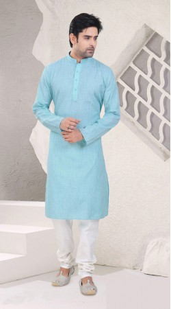 Precious Sky Blue Cotton Mens Knee Length Kurta Pajama SI1342