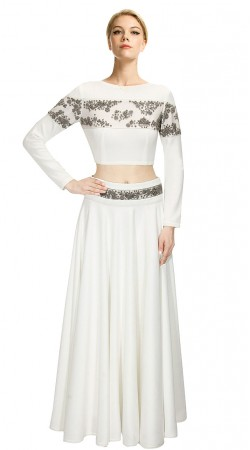 Precious White Silk Embroidered Crop Top Lehenga SUUDL11615