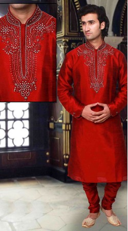 Pretentious Neck Embroidered Red Art Silk Kurta Pyjama DTKP1733