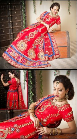 Pretentious Red Net Semi Bridal Lehenga Choli LD003905