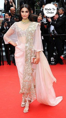 Pretty Baby Pink Net Sonam Kapoor Bollywood Embroidered Saree Style Gown BP1603