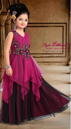 Pretty Black And Purple Net Designer Readymade Kids Gown DT301341