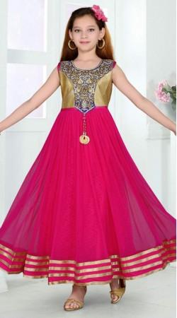 Pretty Dark Pink Net Designer Readymade Kids Gown DT302041