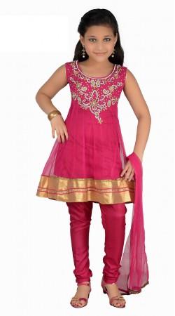 Pretty Golden Border Magenta Net Readymade Kids Salwar Kameez DT1440