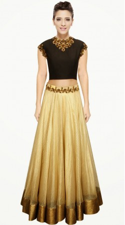 Pretty Golden Cream Cotton Silk Designer Crop Top Lehenga SUUDL1813