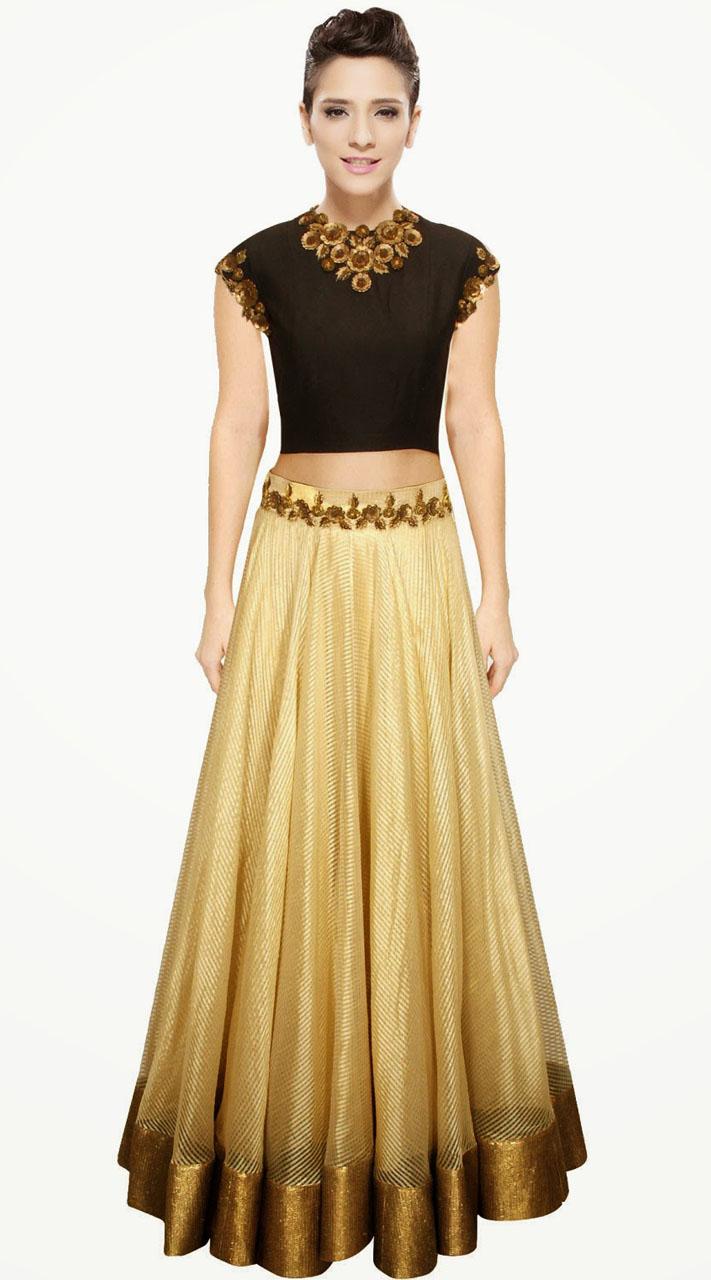 Pretty Golden Cream Designer Crop Top Lehenga Suudl1813
