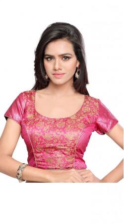 Pretty Golden Floral Work Pink Art Silk Jacquard Designer Blouse BPMS1112