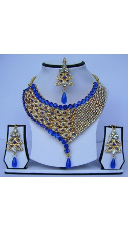 Pretty Golden Plated Blue Stone Work Designer Necklace Set With Tika N62599
