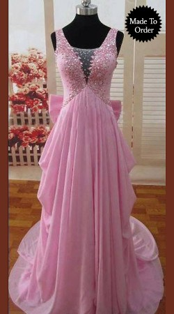 Pretty Hand Work Pink Premium Fabric Deigner Replica Floor Touch Gown BP00307
