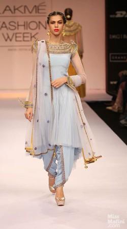 Pretty Light Blue Net Designer Replica Dhoti Salwar With Short Kameez BP1204