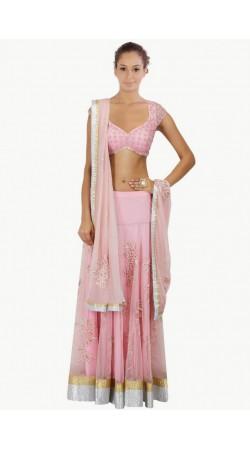 Pretty Light Pink Net And Silk Shatoon Wedding Lehenga Choli SUUDL6814