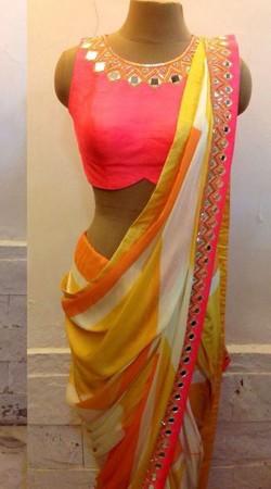 Pretty Mirror Work Neck Pink Premium Fabric Designer Blouse For Saree BP5309