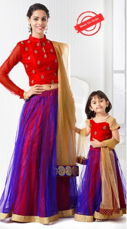 Pretty Mother Daughter Blue And Red Net Lehenga Choli BP3016
