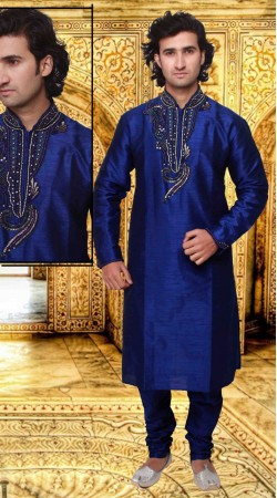 Pretty Neck Embroidered Blue Art Silk Kurta Pyjama For Evening Party DTKP2133