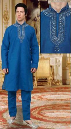 Pretty Neck Embroidered Light Blue Cotton Kurta Payjama DTKP10638