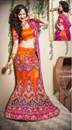 Pretty Orange Net Semi Bridal Lehenga Choli With Pink Dupatta LD001205