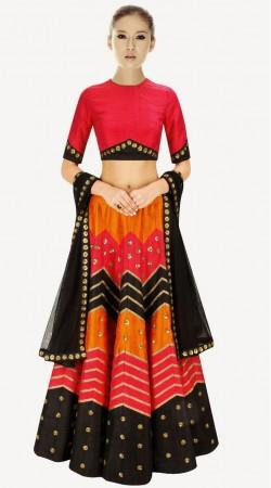 Pretty Orange Silk And Net Designer Crop Top Lehenga SUUDL3813