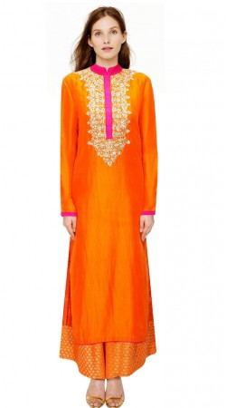 Pretty Orange Silk IndoWestern Salwar Kameez With Dupatta SUMA2809