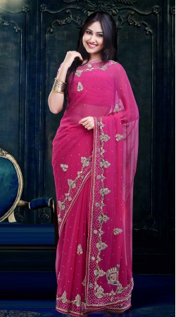 Pretty Pink Faux Georgette Beautiful Saree With Blouse ZP2504
