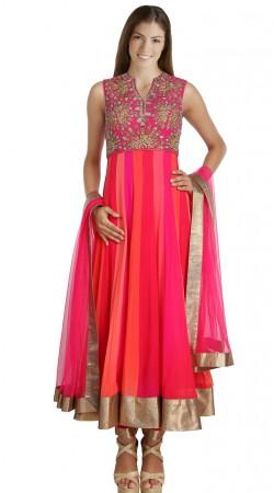 Pretty Pink Georgette Readymade Ready Made Salwar Kameez SU18810