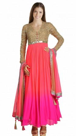 Pretty Pink Georgette Yoke Embroidered Readymade Party Wear Salwar Kameez SU17210