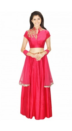 Pretty Pink Silk And Net Wedding Lehenga Choli SUUDL5314