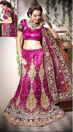 Pretty Purple Net Semi Bridal Lehenga Choli LD003505