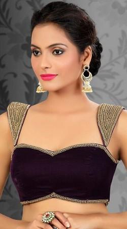 Pretty Purple Velvet Designer Blouse For Saree BP1109