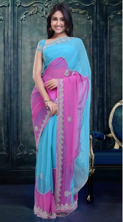 Pretty Purplish Pink And Sky Blue Faux Georgette Party Wear Saree ZP0404