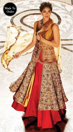 Pretty Red And Cream Premium Fabric Replica Designer Long Gown BP0903
