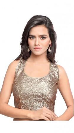 Pretty Silver Art Silk Shimmer Designer Back Style Blouse BPMS0612