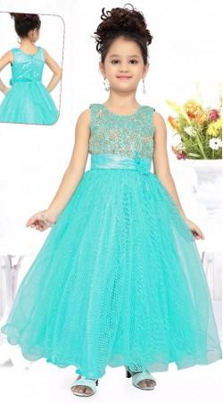 Pretty Sky Blue Net Readymade Princess Kids Gown DT51042